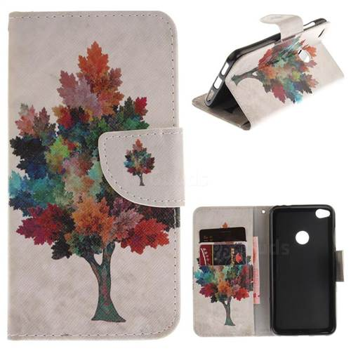 Colored Tree PU Leather Wallet Case for Huawei P8 Lite 2017 / P9 Honor 8 Nova Lite