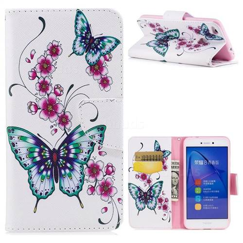 Peach Butterfly Leather Wallet Case for Huawei P8 Lite 2017 / P9 Honor 8 Nova Lite