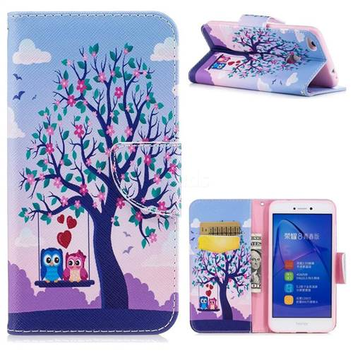 Tree and Owls Leather Wallet Case for Huawei P8 Lite 2017 / P9 Honor 8 Nova Lite