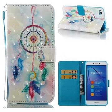 Feather Wind Chimes 3D Painted Leather Wallet Case for Huawei P8 Lite 2017 / P9 Honor 8 Nova Lite
