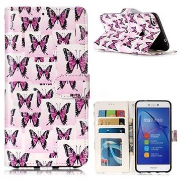 Butterflies Stickers 3D Relief Oil PU Leather Wallet Case for Huawei P8 Lite 2017 / P9 Honor 8 Nova Lite