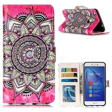 Rose Mandala 3D Relief Oil PU Leather Wallet Case for Huawei P8 Lite 2017 / P9 Honor 8 Nova Lite