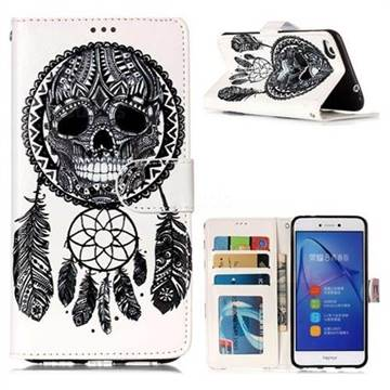 Wind Chimes Skull 3D Relief Oil PU Leather Wallet Case for Huawei P8 Lite 2017 / P9 Honor 8 Nova Lite