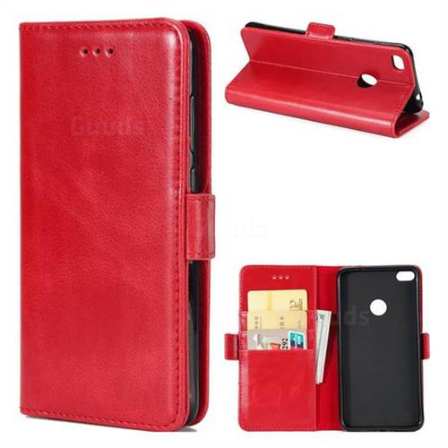 Luxury Crazy Horse PU Leather Wallet Case for Huawei P8 Lite 2017 / P9 Honor 8 Nova Lite - Red