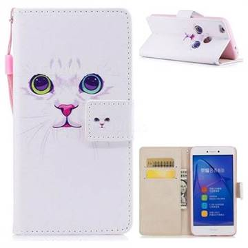 White Cat PU Leather Wallet Case for Huawei P8 Lite 2017 / P9 Honor 8 Nova Lite
