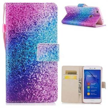 Rainbow Sand PU Leather Wallet Case for Huawei P8 Lite 2017 / P9 Honor 8 Nova Lite