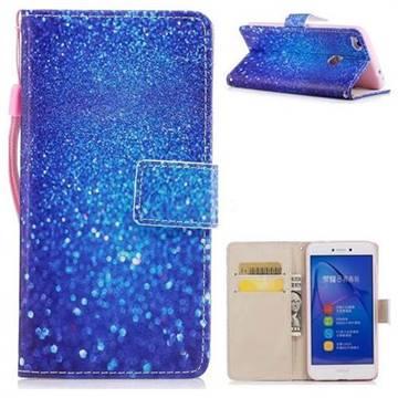 Blue Powder PU Leather Wallet Case for Huawei P8 Lite 2017 / P9 Honor 8 Nova Lite