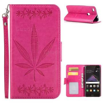 Intricate Embossing Maple Leather Wallet Case for Huawei P8 Lite 2017 / P9 Honor 8 Nova Lite - Rose