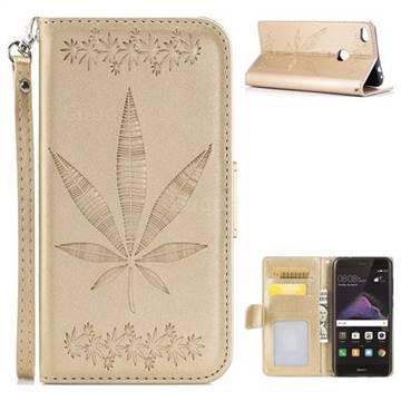 Intricate Embossing Maple Leather Wallet Case for Huawei P8 Lite 2017 / P9 Honor 8 Nova Lite - Champagne