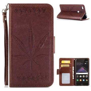 Intricate Embossing Maple Leather Wallet Case for Huawei P8 Lite 2017 / P9 Honor 8 Nova Lite - Brown