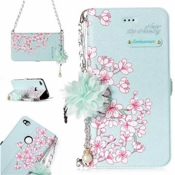 Cherry Blossoms Endeavour Florid Pearl Flower Pendant Metal Strap PU Leather Wallet Case for Huawei P8 Lite 2017 / P9 Honor 8 Nova Lite