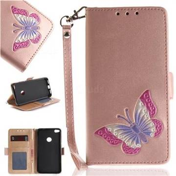 Imprint Embossing Butterfly Leather Wallet Case for Huawei P8 Lite 2017 / P9 Honor 8 Nova Lite - Rose Gold