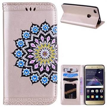 Datura Flowers Flash Powder Leather Wallet Holster Case for Huawei P8 Lite 2017 / P9 Honor 8 Nova Lite - Golden