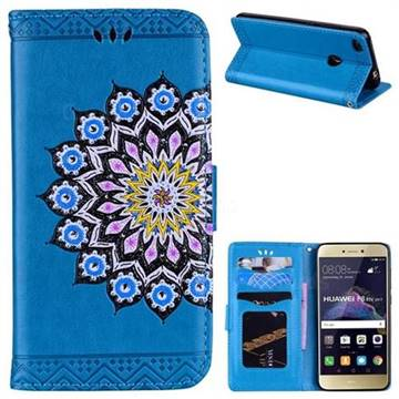 Datura Flowers Flash Powder Leather Wallet Holster Case for Huawei P8 Lite 2017 / P9 Honor 8 Nova Lite - Blue