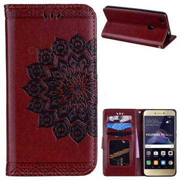 Datura Flowers Flash Powder Leather Wallet Holster Case for Huawei P8 Lite 2017 / P9 Honor 8 Nova Lite - Brown