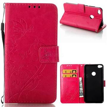 Embossing Butterfly Flower Leather Wallet Case for Huawei P8 Lite 2017 / P9 Honor 8 Nova Lite - Rose