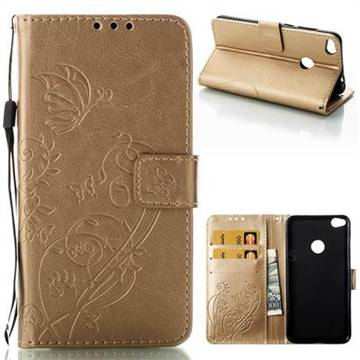 Embossing Butterfly Flower Leather Wallet Case for Huawei P8 Lite 2017 / P9 Honor 8 Nova Lite - Champagne
