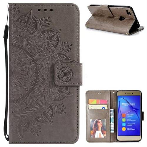 Intricate Embossing Datura Leather Wallet Case for Huawei P8 Lite 2017 / P9 Honor 8 Nova Lite - Gray