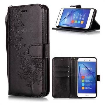 Intricate Embossing Dandelion Butterfly Leather Wallet Case for Huawei P8 Lite 2017 / P9 Honor 8 Nova Lite - Black