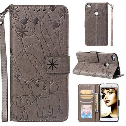 Embossing Fireworks Elephant Leather Wallet Case for Huawei P8 Lite 2017 / P9 Honor 8 Nova Lite - Gray