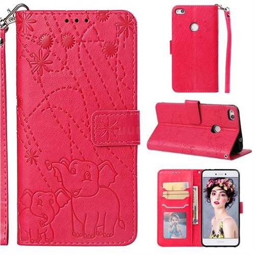 Embossing Fireworks Elephant Leather Wallet Case for Huawei P8 Lite 2017 / P9 Honor 8 Nova Lite - Red