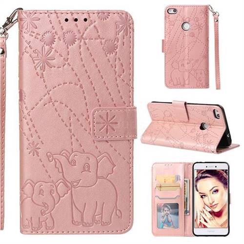 Embossing Fireworks Elephant Leather Wallet Case for Huawei P8 Lite 2017 / P9 Honor 8 Nova Lite - Rose Gold