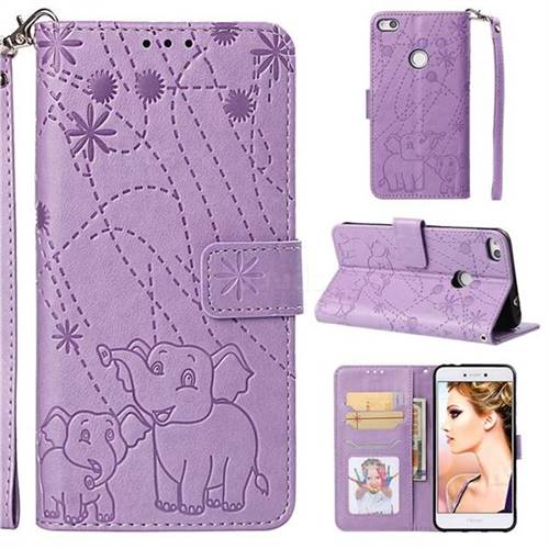 Embossing Fireworks Elephant Leather Wallet Case for Huawei P8 Lite 2017 / P9 Honor 8 Nova Lite - Purple