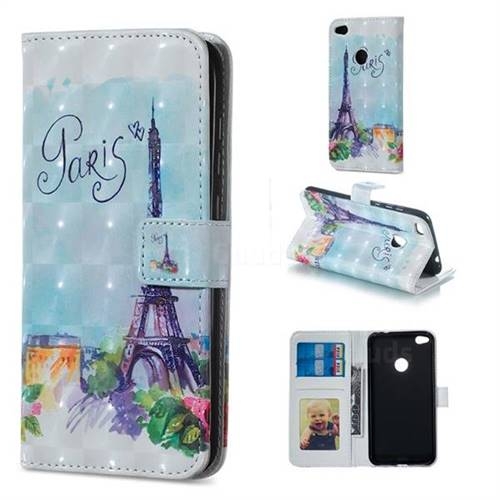 Paris Tower 3D Painted Leather Phone Wallet Case for Huawei P8 Lite 2017 / P9 Honor 8 Nova Lite