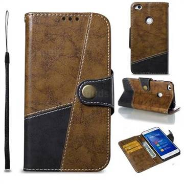 Retro Magnetic Stitching Wallet Flip Cover for Huawei P8 Lite 2017 / P9 Honor 8 Nova Lite - Brown