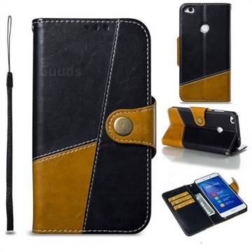 Retro Magnetic Stitching Wallet Flip Cover for Huawei P8 Lite 2017 / P9 Honor 8 Nova Lite - Black