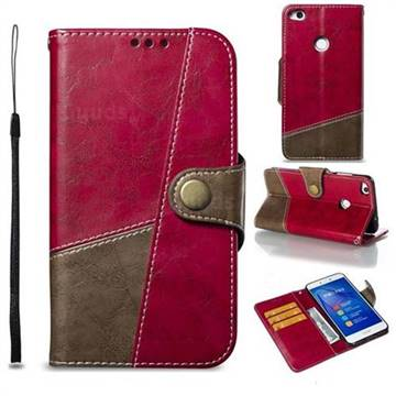 Retro Magnetic Stitching Wallet Flip Cover for Huawei P8 Lite 2017 / P9 Honor 8 Nova Lite - Rose Red