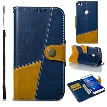 Retro Magnetic Stitching Wallet Flip Cover for Huawei P8 Lite 2017 / P9 Honor 8 Nova Lite - Blue