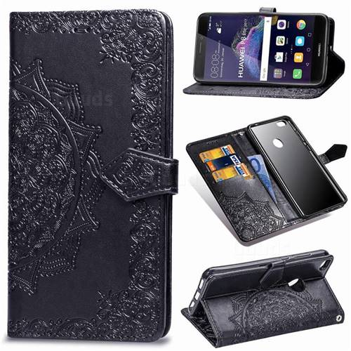 Embossing Imprint Mandala Flower Leather Wallet Case for Huawei P8 Lite 2017 / P9 Honor 8 Nova Lite - Black