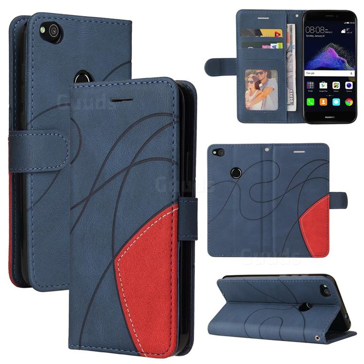 Luxury Two-color Stitching Leather Wallet Case Cover for Huawei P8 Lite 2017 / P9 Honor 8 Nova Lite - Blue