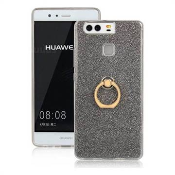 Luxury Soft TPU Glitter Back Ring Cover with 360 Rotate Finger Holder Buckle for Huawei P9 - Black