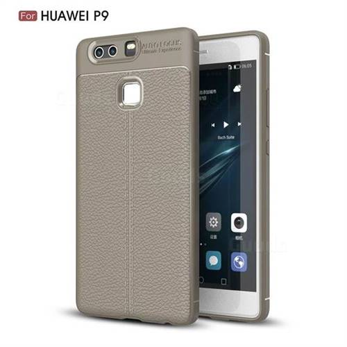 Luxury Auto Focus Litchi Texture Silicone TPU Back Cover for Huawei P9 - Gray