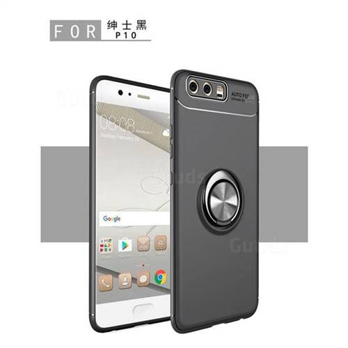 Auto Focus Invisible Ring Holder Soft Phone Case for Huawei P9 - Black