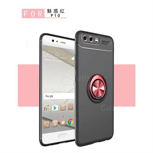 Auto Focus Invisible Ring Holder Soft Phone Case for Huawei P9 - Black Red