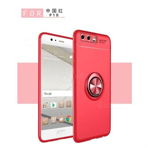 Auto Focus Invisible Ring Holder Soft Phone Case for Huawei P9 - Red