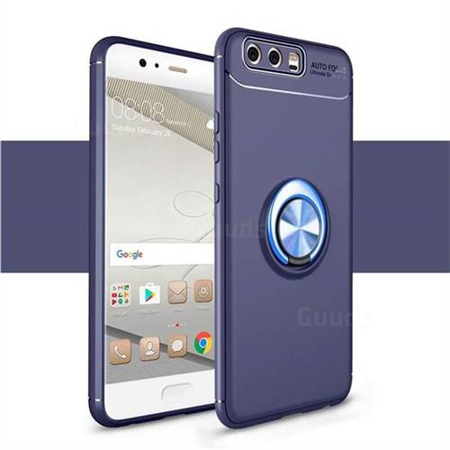 Auto Focus Invisible Ring Holder Soft Phone Case for Huawei P9 - Blue