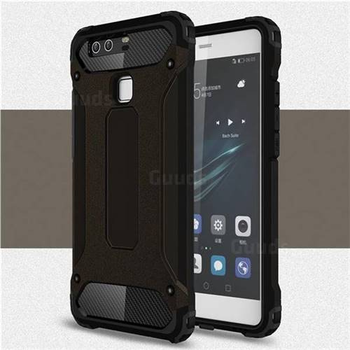 King Kong Armor Premium Shockproof Dual Layer Rugged Hard Cover for Huawei P9 - Black Gold