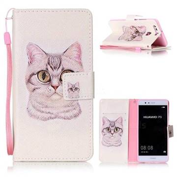 Lovely Cat Leather Wallet Phone Case for Huawei P9