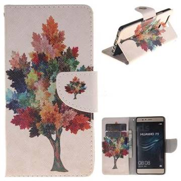 Colored Tree PU Leather Wallet Case for Huawei P9