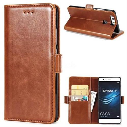 Luxury Crazy Horse PU Leather Wallet Case for Huawei P9 - Brown