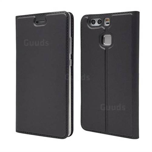 Ultra Slim Card Magnetic Automatic Suction Leather Wallet Case for Huawei P9 - Star Grey
