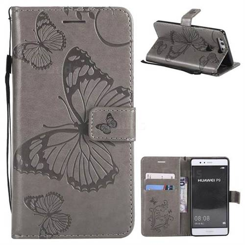 Embossing 3D Butterfly Leather Wallet Case for Huawei P9 - Gray