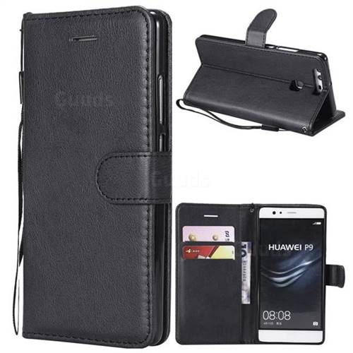 Retro Greek Classic Smooth PU Leather Wallet Phone Case for Huawei P9 - Black