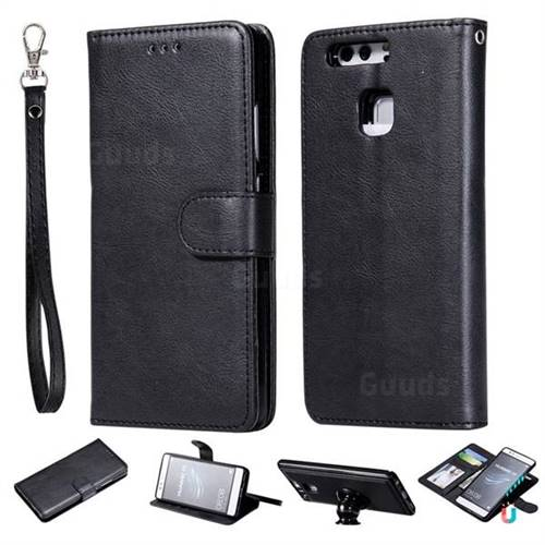 Retro Greek Detachable Magnetic PU Leather Wallet Phone Case for Huawei P9 - Black