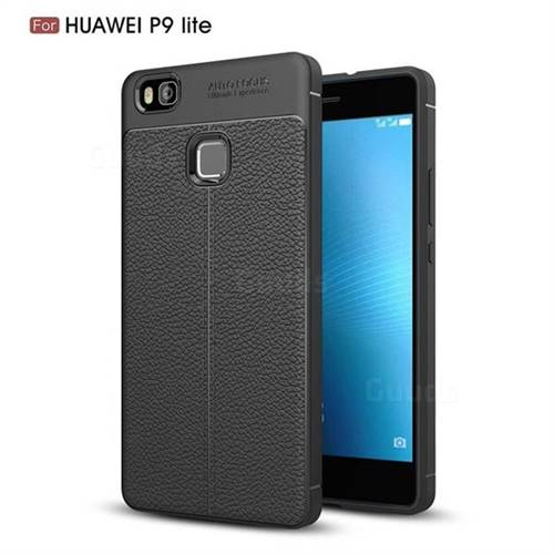Luxury Auto Focus Litchi Texture Silicone TPU Back Cover for Huawei P9 Lite G9 Lite - Black