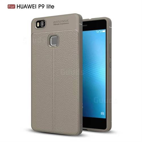 Luxury Auto Focus Litchi Texture Silicone TPU Back Cover for Huawei P9 Lite G9 Lite - Gray